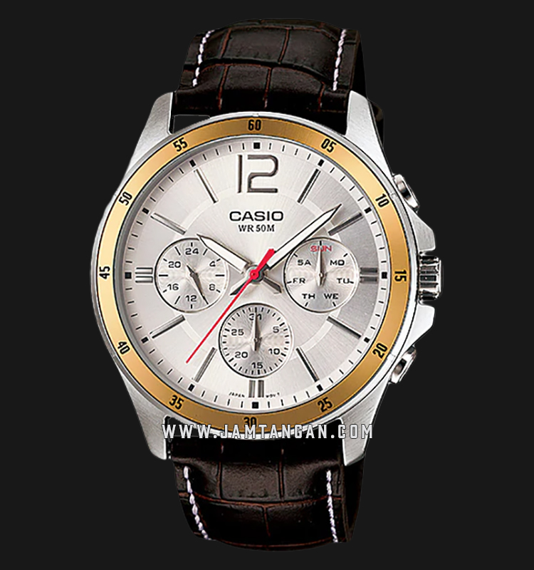 Casio MTP-1374L-7AVDF Enticer Men Silver Dial Brown Leather Strap Machtwatch