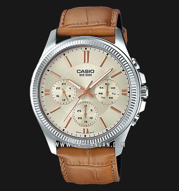Casio MTP-1375L-9AVDF Enticer Men Gold Dial Tan Leather Strap Machtwatch