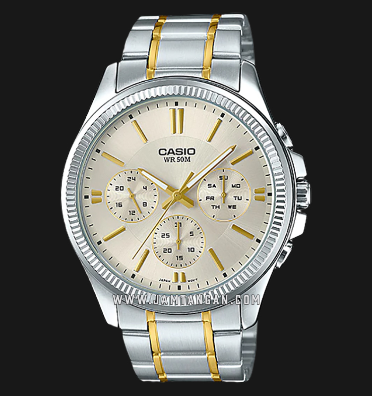 Casio MTP-1375SG-9AVDF Enticer Men Gold Dial Dual Tone Stainless Steel Strap Machtwatch