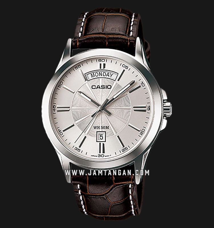 Casio MTP-1381L-7AVDF Enticer Men Silver Dial Brown Leather Strap Machtwatch