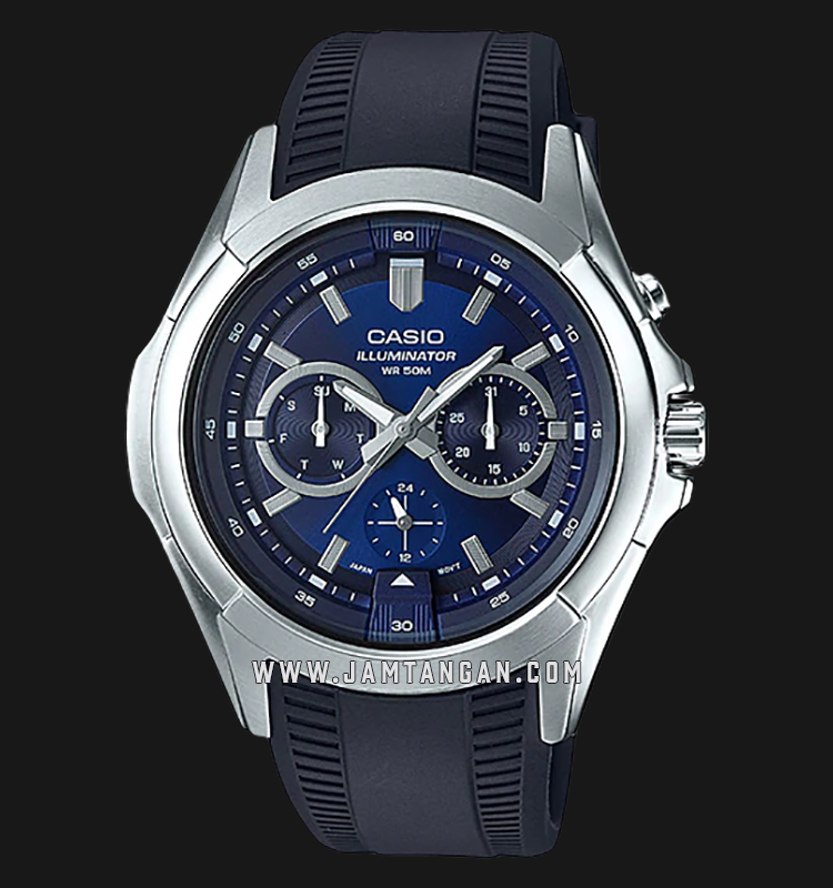 Casio MTP-E204-2AVDF Enticer Men Blue Dial Black Resin Strap Machtwatch