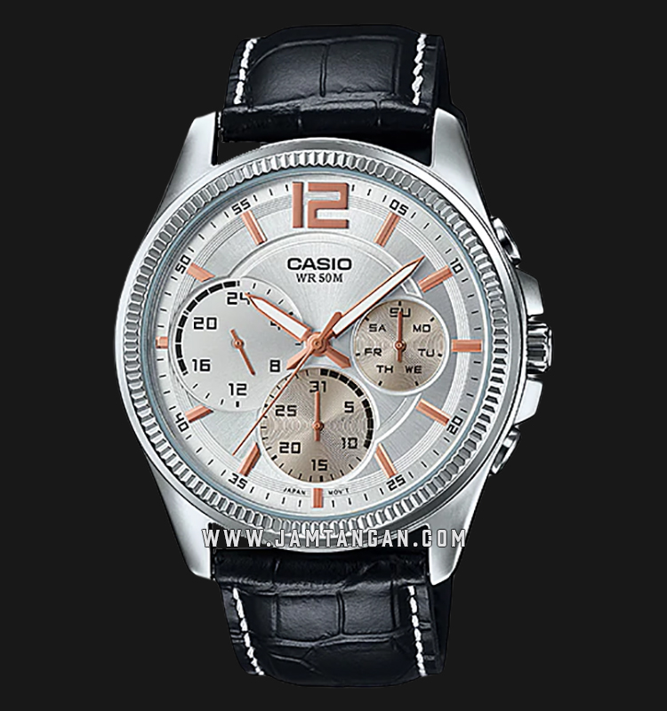 Casio MTP-E305L-7AVDF Enticer Men Silver Dial Black Leather Strap Machtwatch