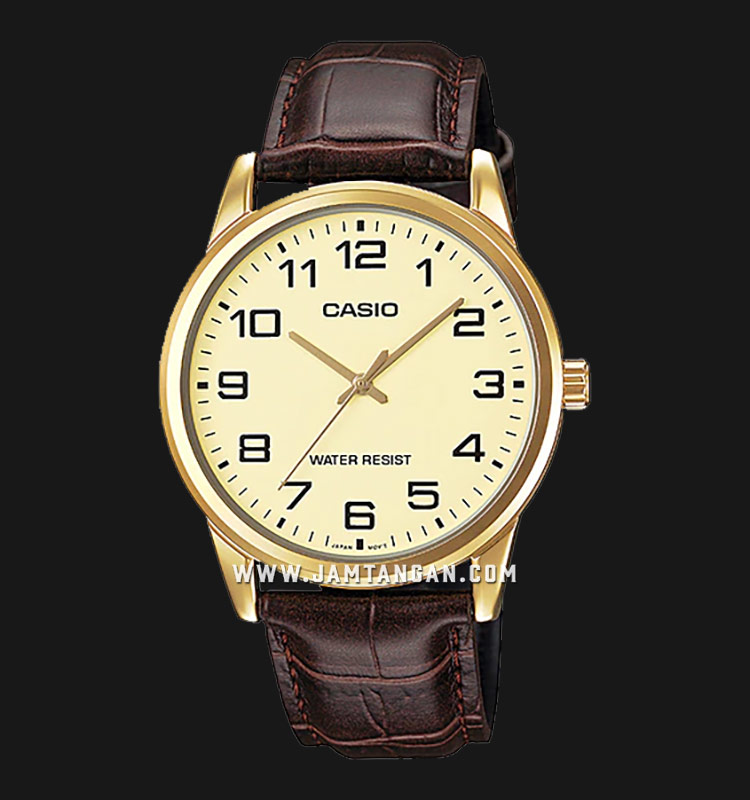 Casio MTP-V001GL-9BUDF Men Champagne Dial Brown Leather Strap Machtwatch