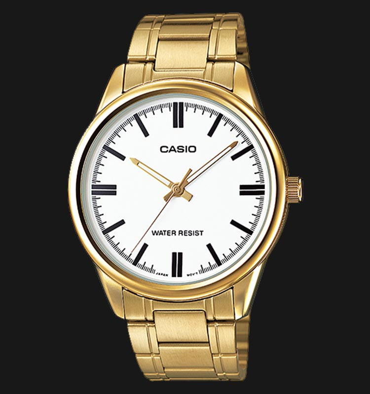 Casio MTP-V005G-7AUDF Men White Dial Gold Stainless Steel Strap Machtwatch
