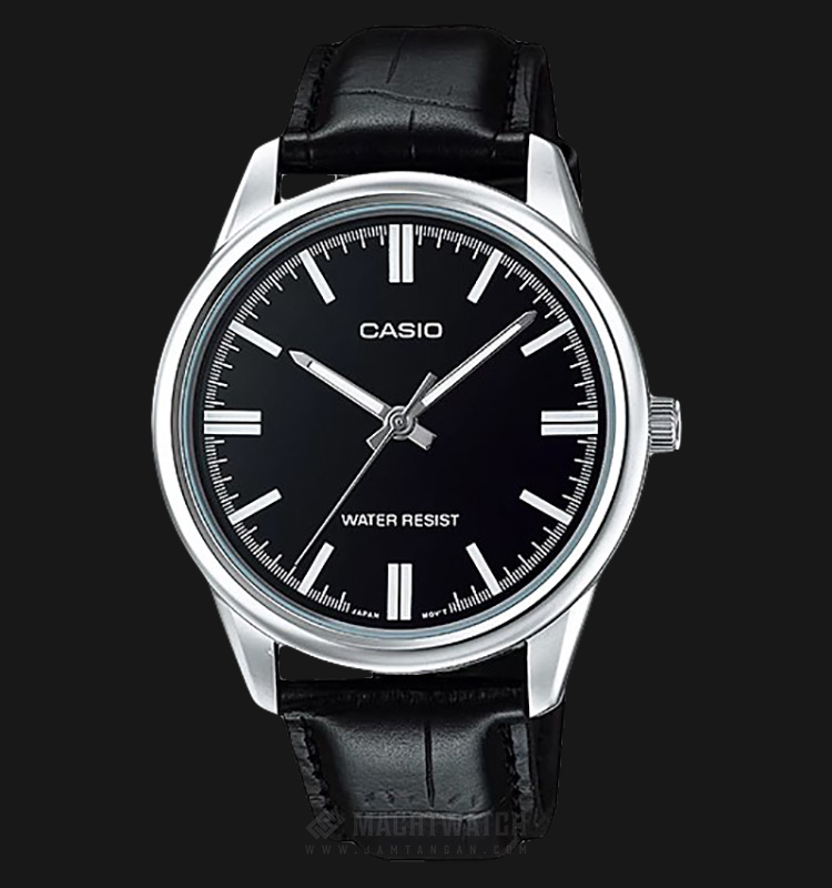 Casio MTP-V005L-1AUDF Black Dial Ion Plated Black Leather Strap Machtwatch