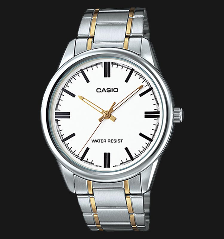 Casio MTP-V005SG-7AUDF Men White Dial Dual Tone Stainless Steel Strap Machtwatch