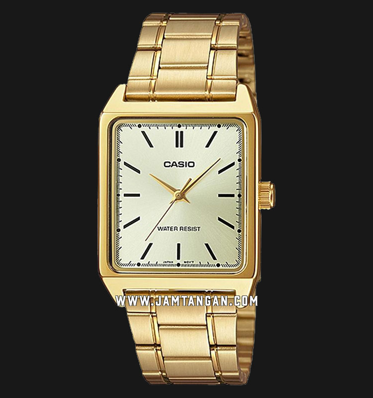 Casio General MTP-V007G-9EUDF Men Gold Dial Gold Stainless Steel Strap Machtwatch
