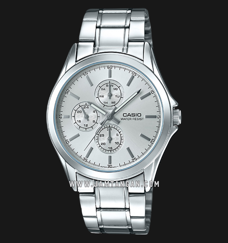 Casio MTP-V302D-7AUDF Enticer Men Silver Dial Stainless Steel Strap Machtwatch
