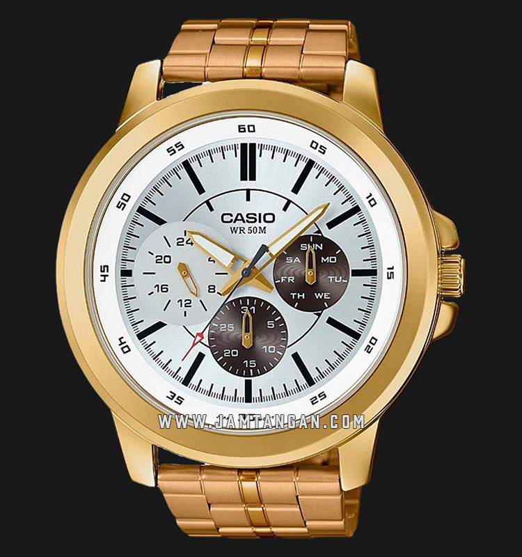 Casio MTP-X300G-7EVDF Men White Dial Gold Stainless Steel Strap Machtwatch