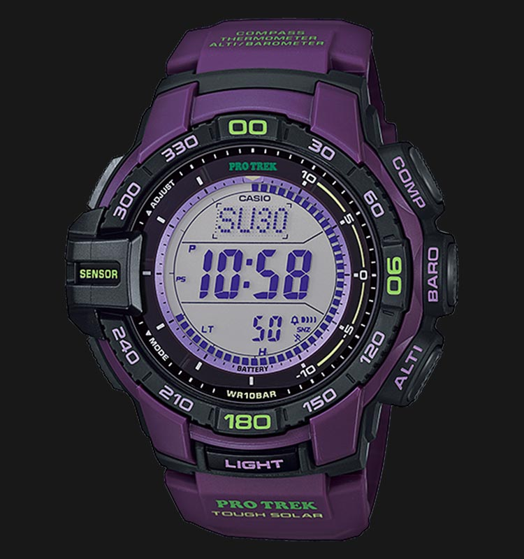 Casio Pro Trek PRG-270-6ADR Digital Display Dial Purple Resin Strap Machtwatch