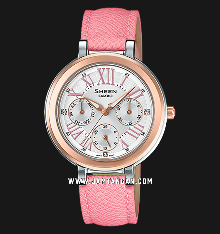 Casio Sheen SHE-3034BGL-7AUDR White Dial Pink Leather Strap Machtwatch