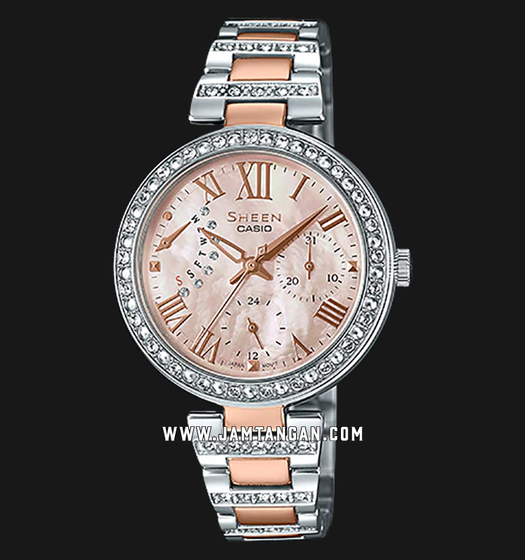 Casio Sheen SHE-3043BSG-9AUDR Mother Of Pearl Dial Stainless Steel Strap Machtwatch