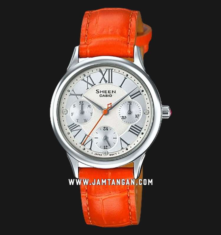 Casio Sheen SHE-3049L-7AUDR Ladies Silver Dial Orange Leather Strap Machtwatch