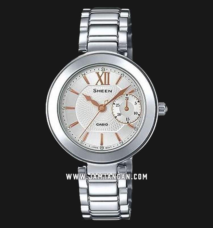 Casio Sheen SHE-3050D-7AUDR Silver Dial Stainless Steel Strap Machtwatch