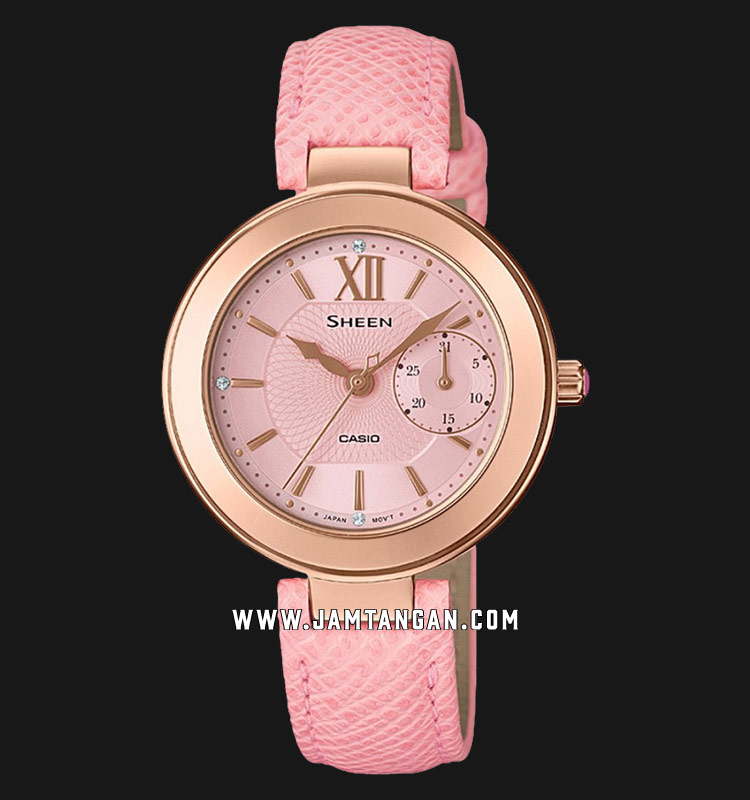 Casio Sheen SHE-3051PGL-4AUDR Pink Dial Pink Leather Strap Machtwatch