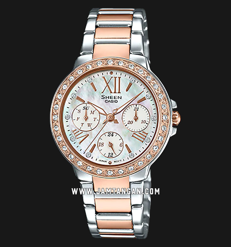 Casio Sheen SHE-3052SPG-7AUDR Mother Of Pearl Dial Stainless Steel Strap Machtwatch