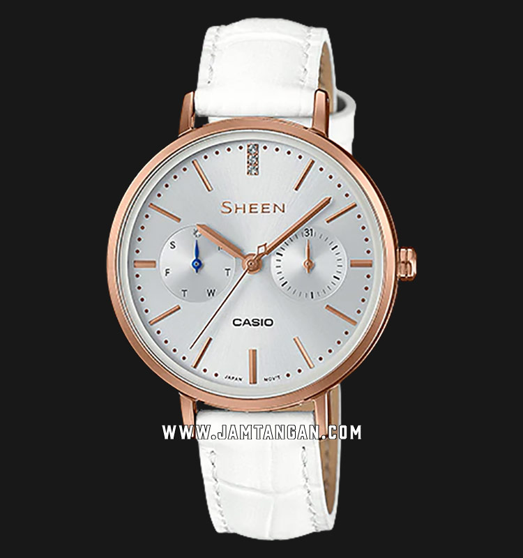 Casio Sheen SHE-3054PGL-7AUDR Silver Dial White Leather Strap Machtwatch