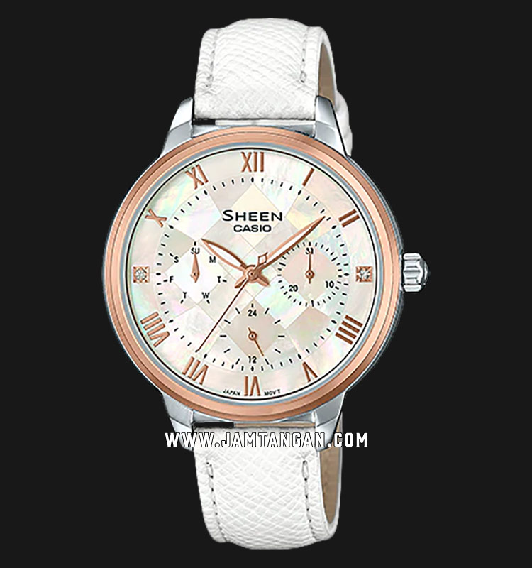 Casio Sheen SHE-3057PGL-7AUDR Mother of Pearl Dial White Leather Strap Machtwatch