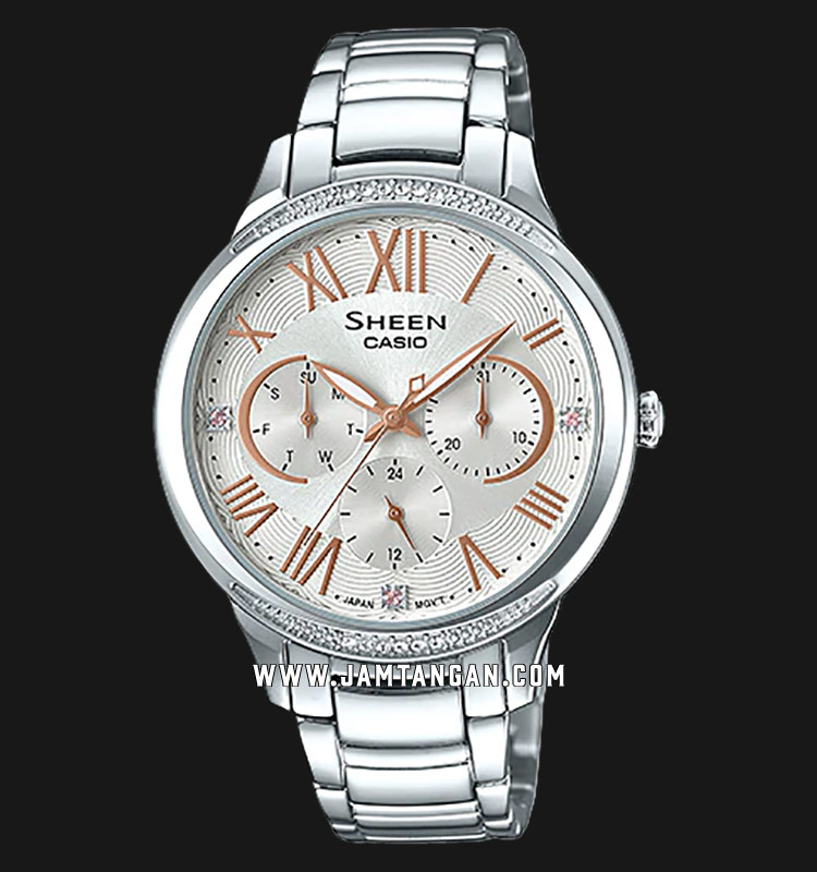 Casio Sheen SHE-3058D-7AUDR Silver Dial Stainless Steel Strap Machtwatch