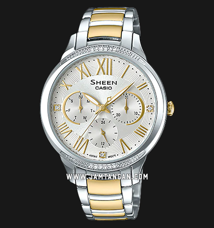 Casio Sheen SHE-3058SG-7AUDR Silver Dial Stainless Steel Strap Machtwatch