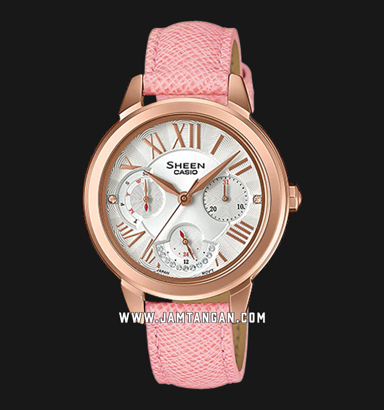 Casio Sheen SHE-3059PGL-7AUDR Ladies Silver Dial Pink Leather Strap Machtwatch