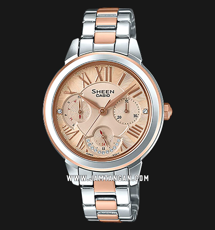 Casio Sheen SHE-3059SPG-9AUDR Rose Gold Dial Stainless Steel Strap Machtwatch