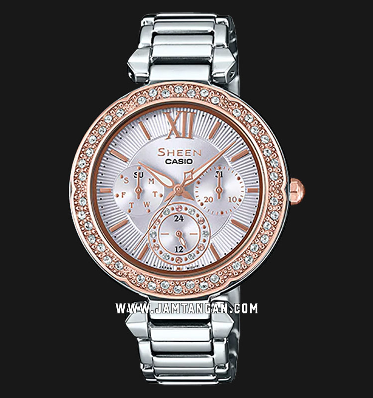 Casio Sheen SHE-3061SG-4AUDR Silver Dial Rose Gold Stainless Steel Strap Machtwatch