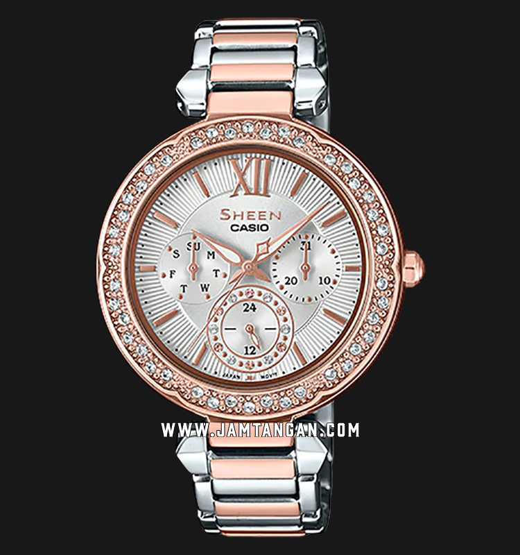 Casio Sheen SHE-3061SPG-7AUDR Silver Dial Rose Gold Stainless Steel Strap Machtwatch
