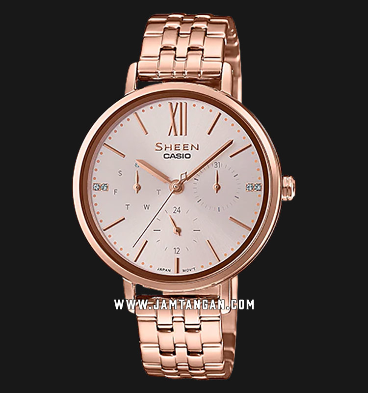 Casio Sheen SHE-3064PG-4AUDF Rose Gold Dial Rose Gold Stainless Steel Strap Machtwatch