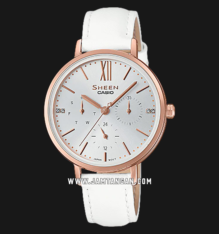 Casio Sheen SHE-3064PGL-7AUDF Ladies Silver Dial White Leather Strap Machtwatch