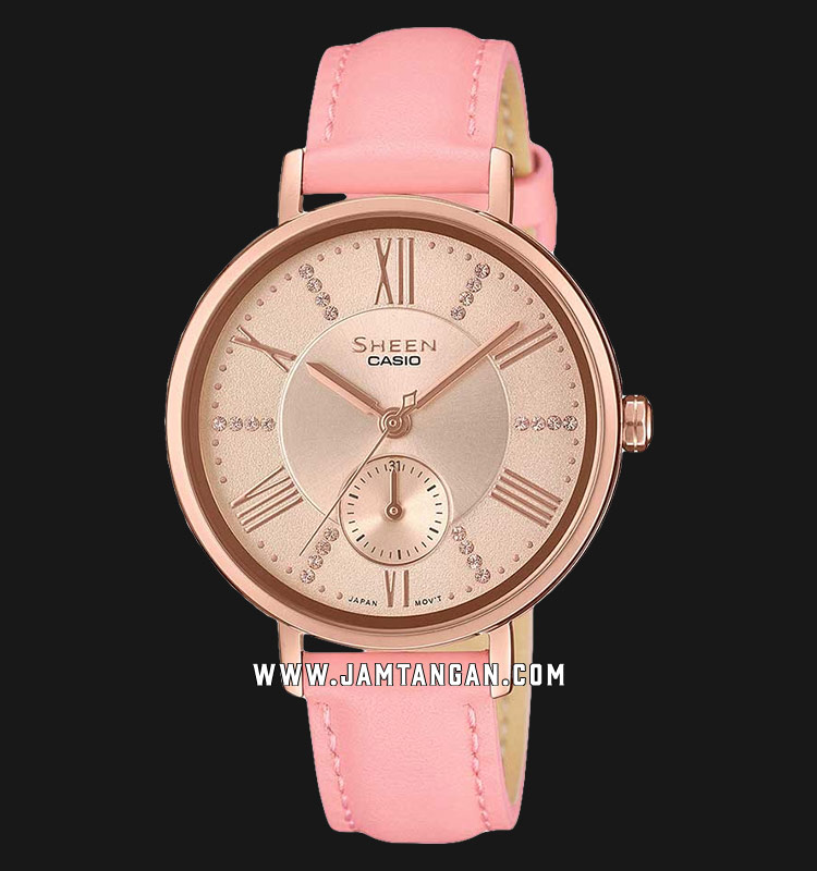 Casio Sheen SHE-3066PGL-4AUDF Ladies Rose Gold Dial Pink Leather Strap Machtwatch