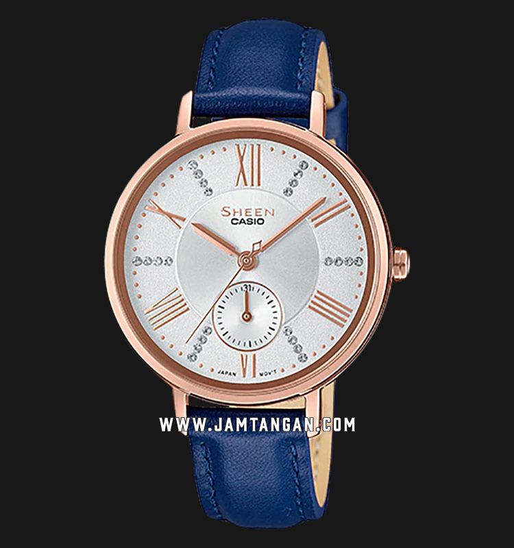 Casio Sheen SHE-3066PGL-7AUDF Ladies Rose Gold Dial Blue Leather Strap Machtwatch
