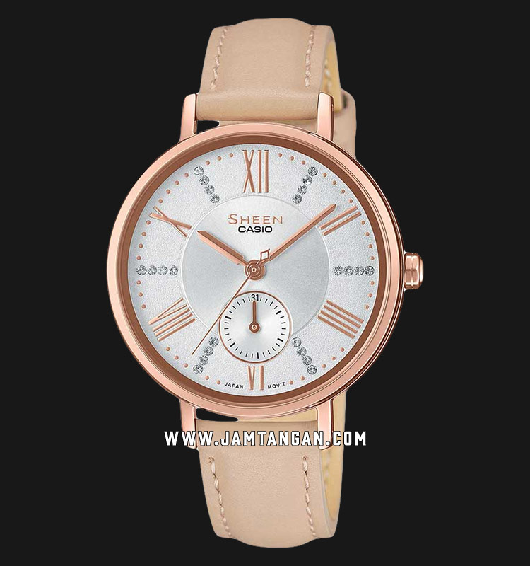 Casio Sheen SHE-3066PGL-7BUDF Ladies Silver Dial Beige Leather Strap Machtwatch