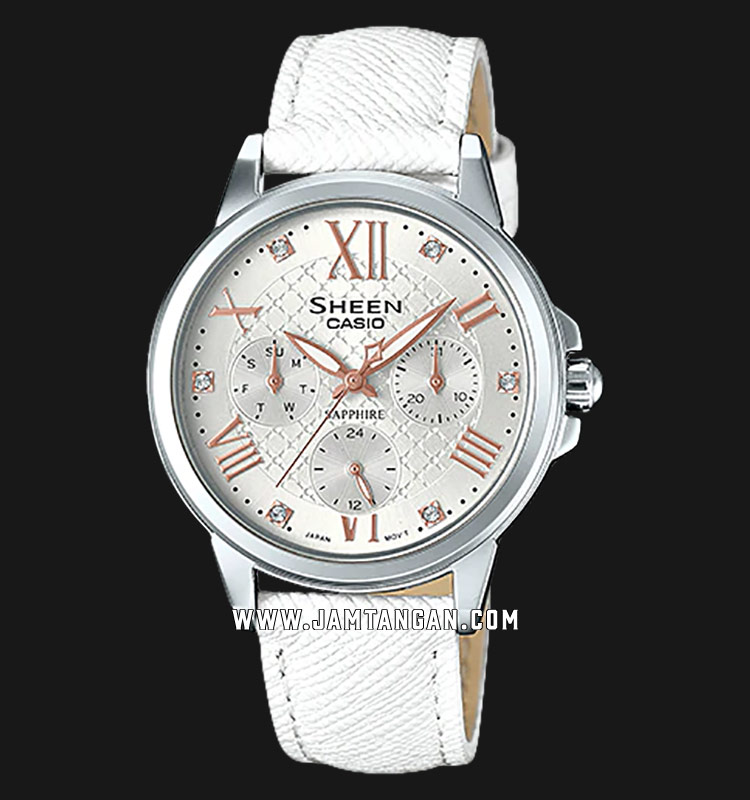 Casio Sheen SHE-3511L-7AUDR White Dial White Leather Strap Machtwatch