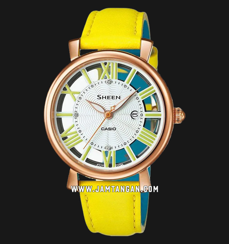 Casio Sheen SHE-4047PGL-9AUDR Ladies Silver Dial Yellow Leather Strap Machtwatch