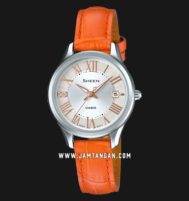 Casio Sheen SHE-4050L-7AUDR Ladies Silver Dial Orange Leather Strap Machtwatch