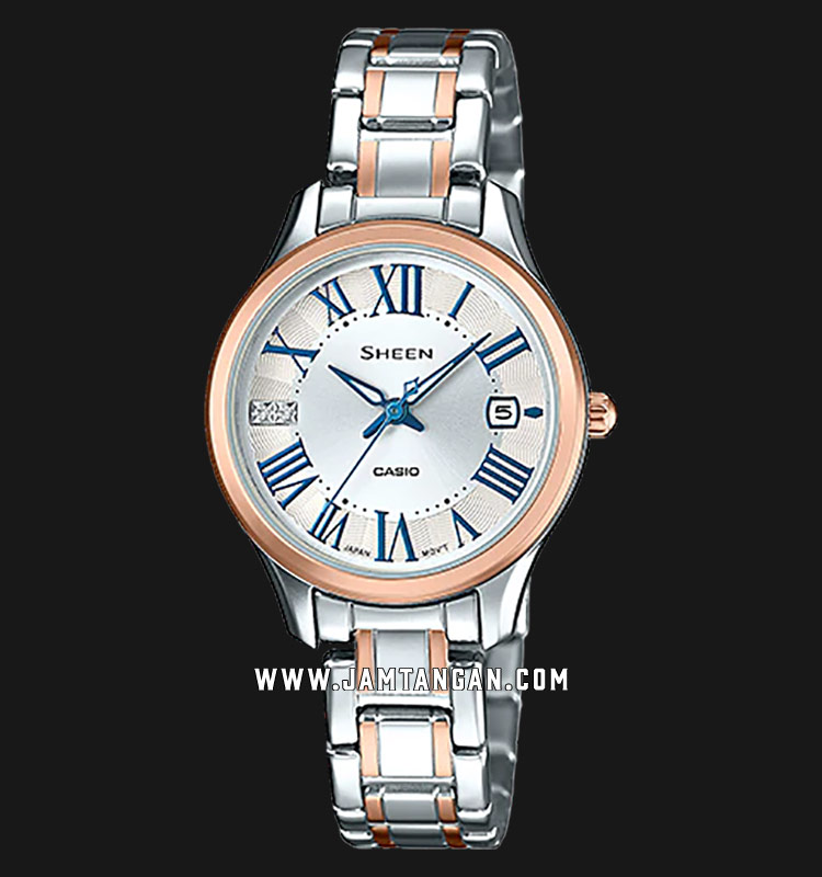 Casio Sheen SHE-4050SPG-7AUDR White Dial Stainless Steel Strap Machtwatch