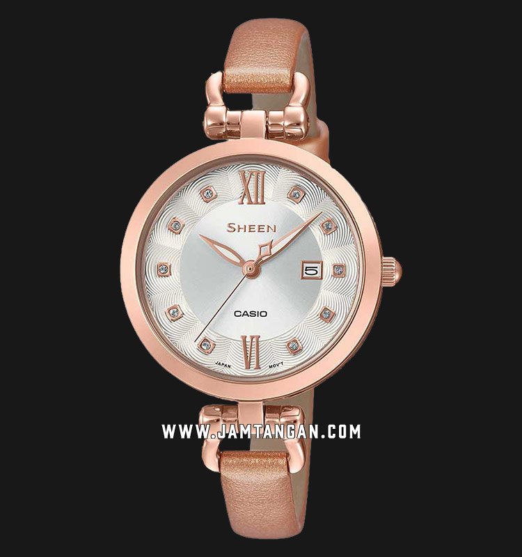 Casio Sheen SHE-4055PGL-7BUDF Ladies Silver Dial Pink Leather Strap Machtwatch
