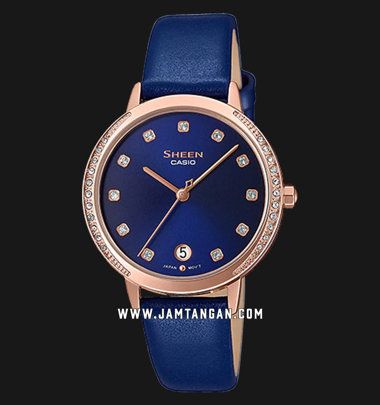 Casio Sheen SHE-4056PGL-2AUDF Ladies Blue Dial Blue Leather Strap Machtwatch