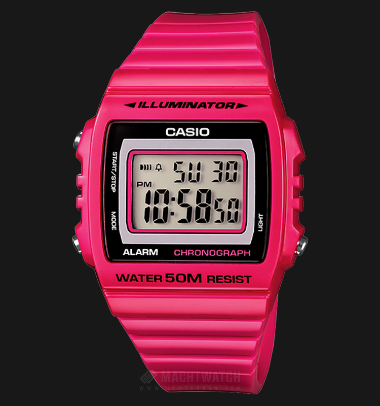 Casio General W-215H-4AVDF Unisex Chronograph Square Black Digital Dial Pink Resin Strap Machtwatch