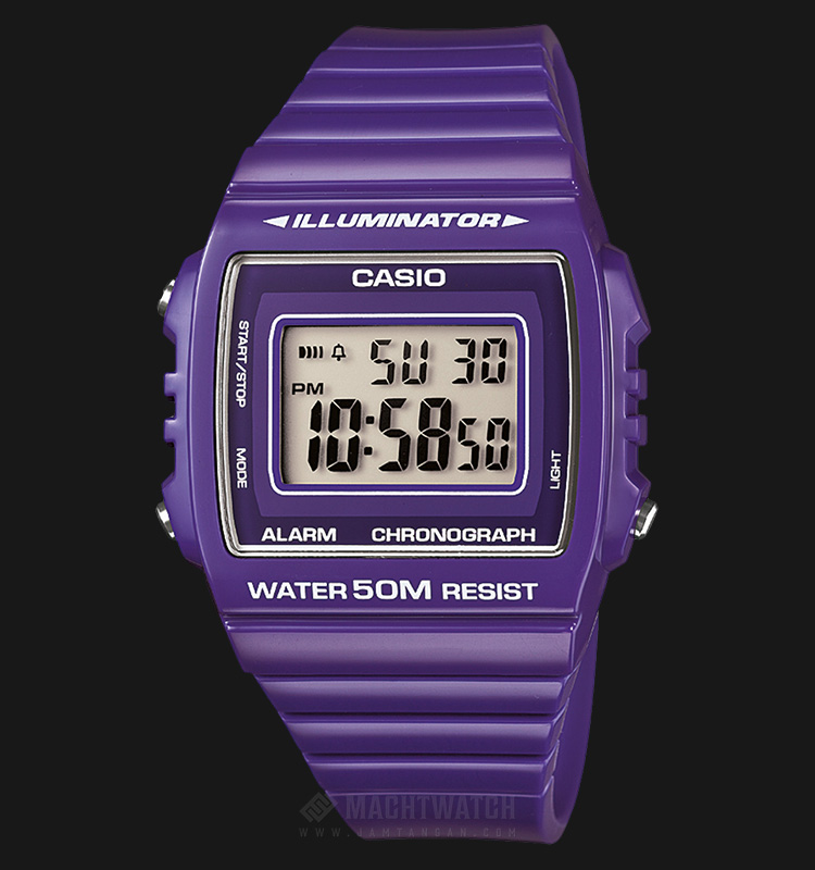 Casio General W-215H-6AVDF Unisex Chronograph Square Purple Digital Dial Purple Resin Strap Machtwatch