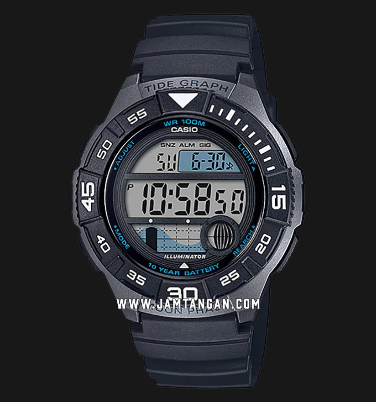Casio WS-1100H-1AVDF Tide Graph Digital Dial Black Resin Strap Machtwatch