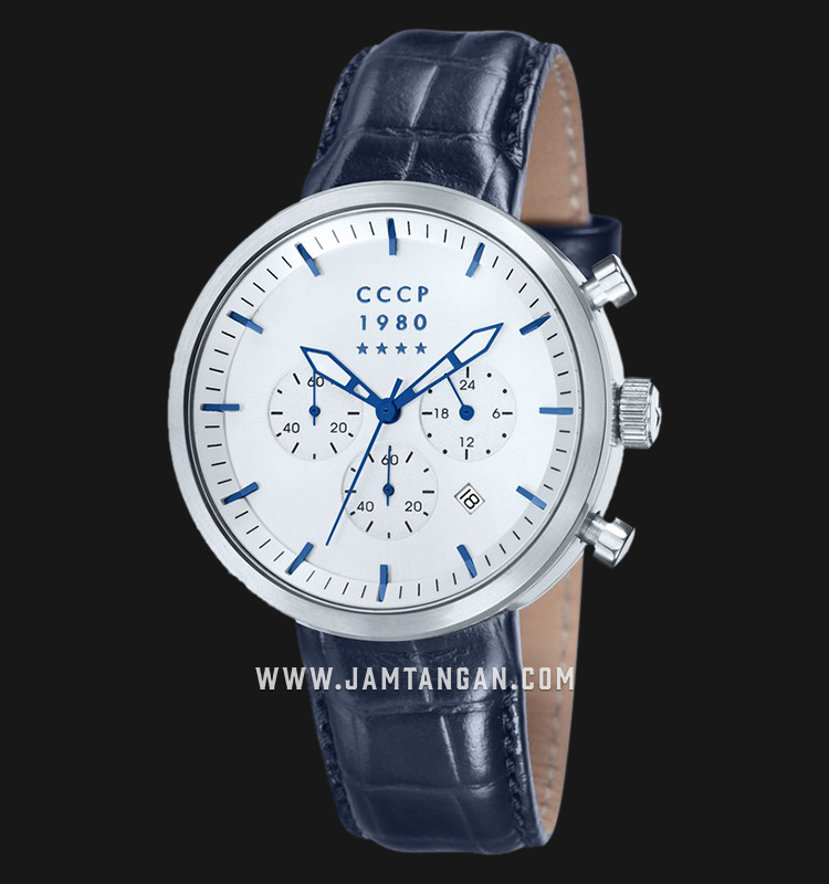 CCCP Kashalot Dress CP-7007-05 Chronograph Men Silver Dial Blue Leather Strap Machtwatch