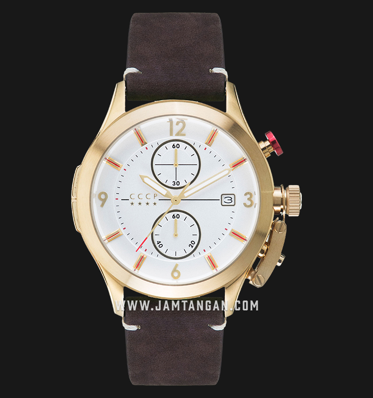 CCCP Shchuka CP-7033-05 Chronograph Men Silver Dial Brown Leather Strap Machtwatch