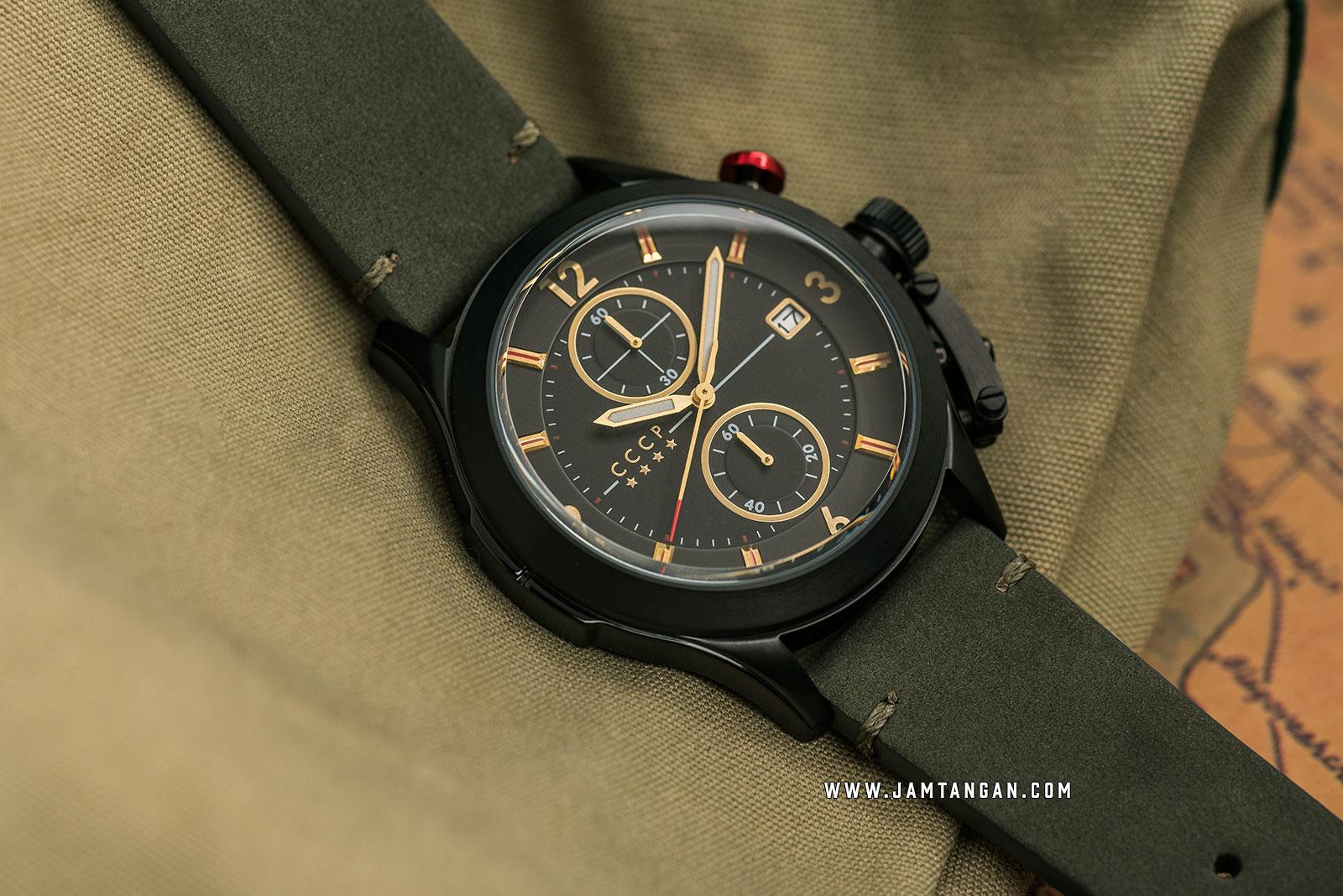 CCCP Shchuka CP-7033-07 Chronograph Men Black Dial Dark Green Leather Strap Machtwatch