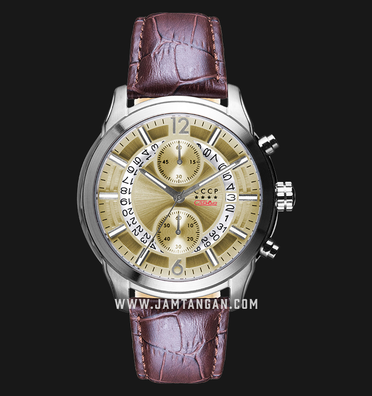 CCCP Balaklava CP-7038-05 Chronograph Men Champagne Dial Brown Leather Strap Machtwatch