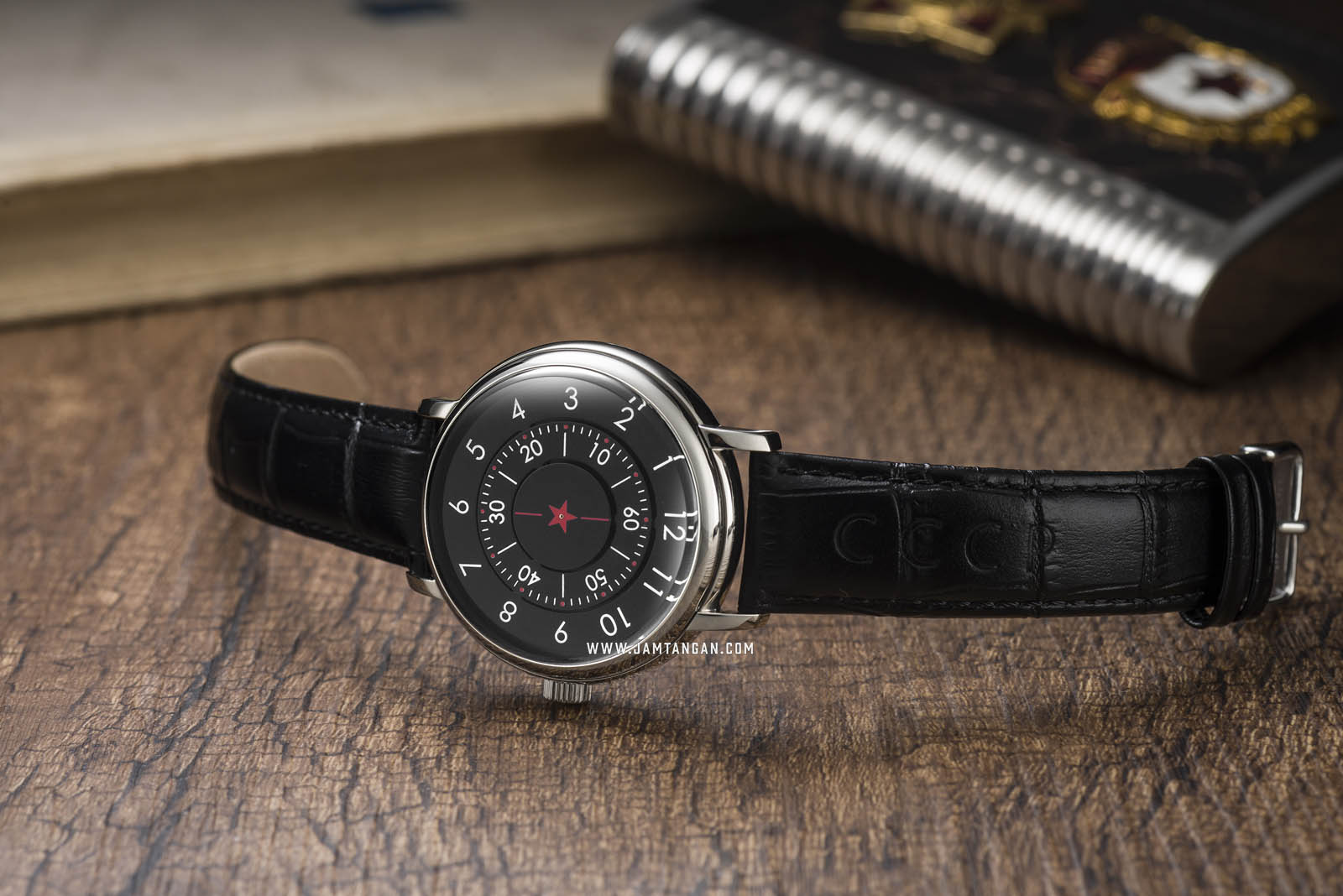 CCCP Aleksandrov CP-7042-01 Automatic Black Dial Black Leather Strap Machtwatch
