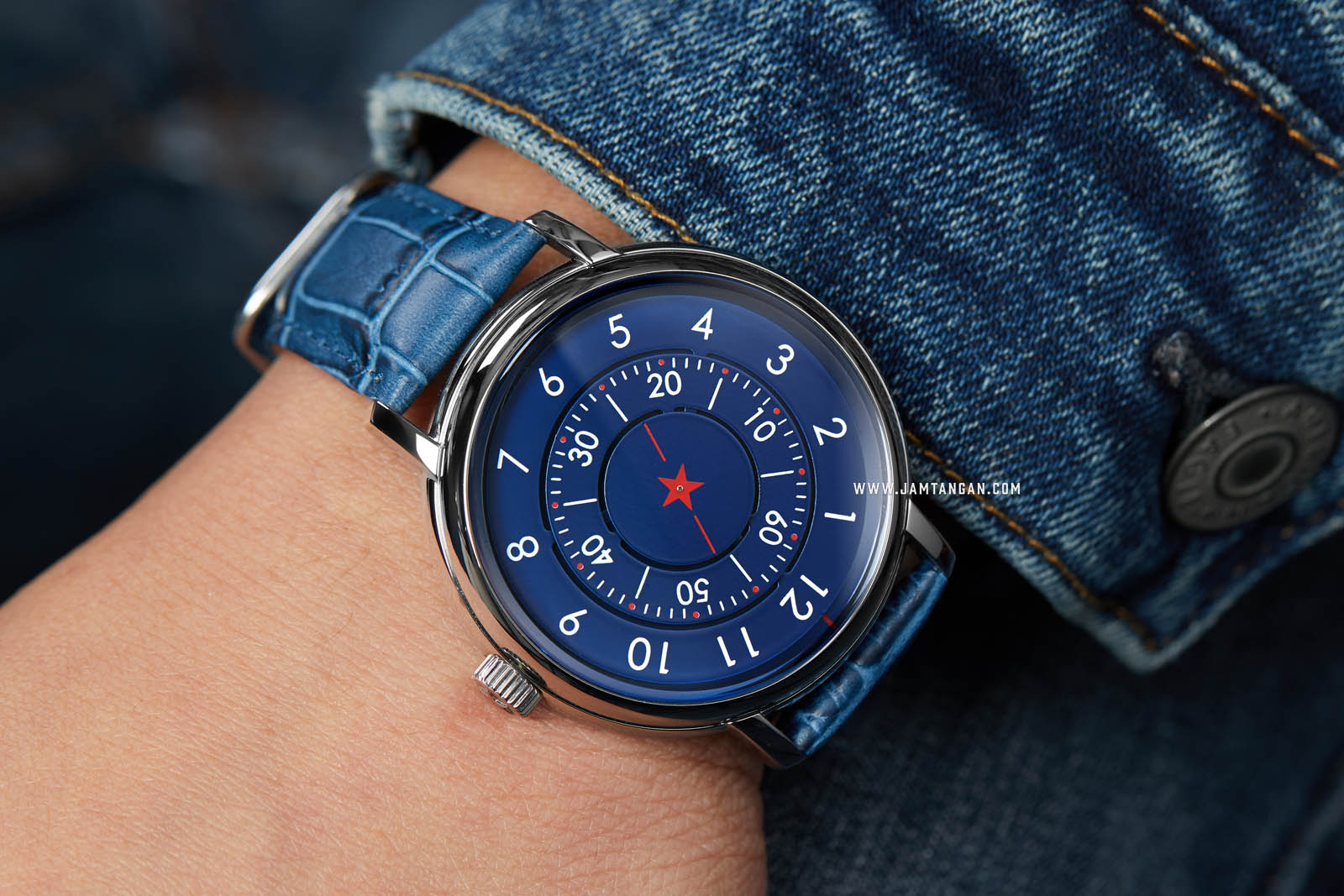 CCCP Aleksandrov CP-7042-02 Automatic Blue Dial Blue Leather Strap Machtwatch