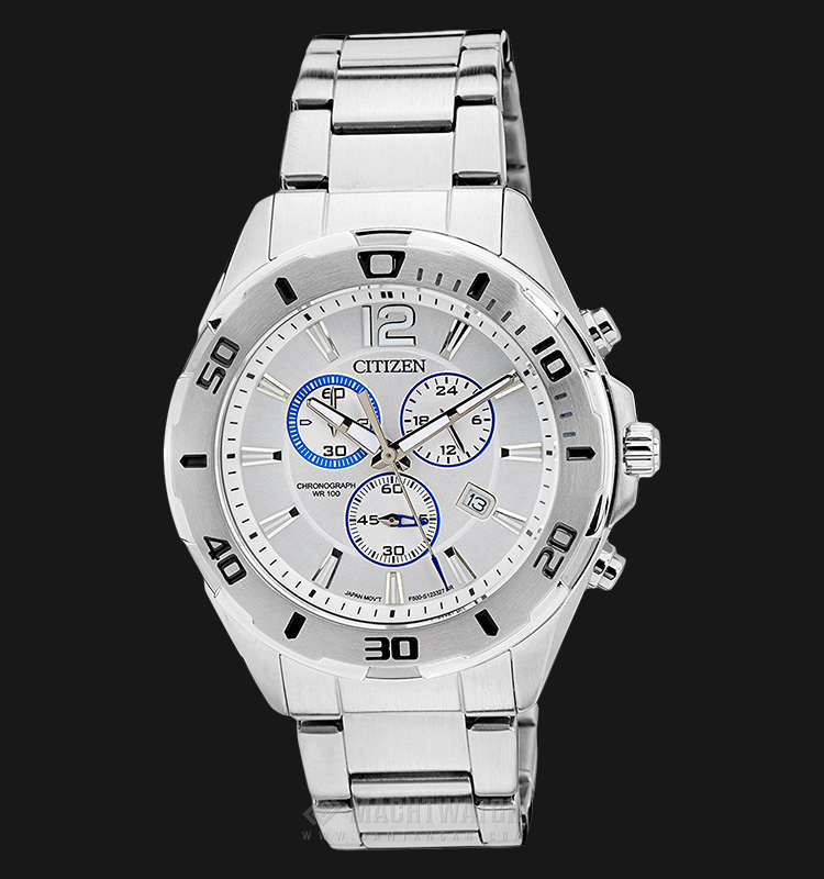 Citizen AN7110-56A Casual Chrono White Dial Stainless Steel Machtwatch