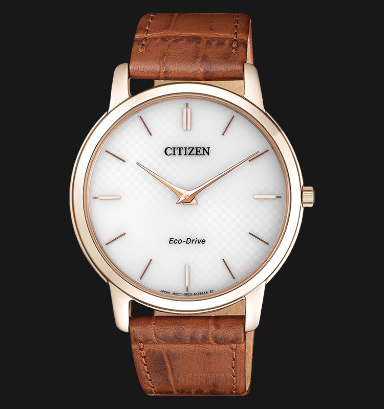 Citizen AR1133-15A Ecodrive Men White Dial Brown Leather Strap Machtwatch